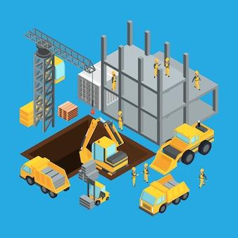 Phase de construction du bâtiment. transport isométrique pour la construction.