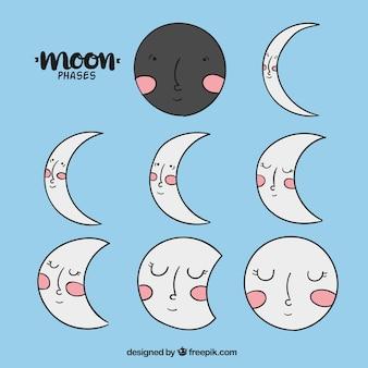 Phases dessinées à la main de la lune