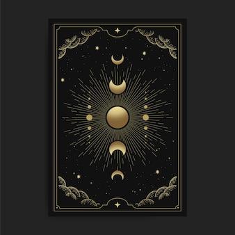 Phases de la lune en cartes de tarot, décorées de nuages dorés, de la circulation lunaire, de l'espace extra-atmosphérique et de nombreuses étoiles