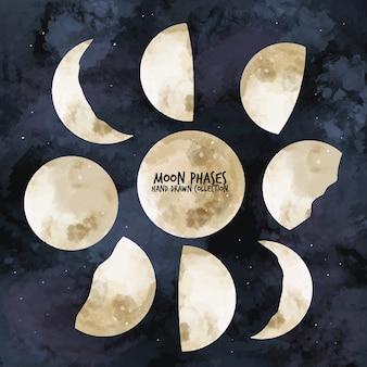 Phases de lune - collection dessinée à la main