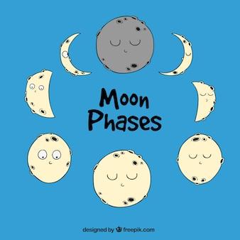 Phases de la lune dans le style dessiné à la main