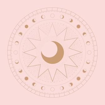 Phases de la lune. différentes étapes de l'activité au clair de lune.