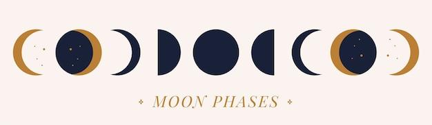 Phases vectorielles d'une lune dorée sur fond nu. illustration dessinée à la main.