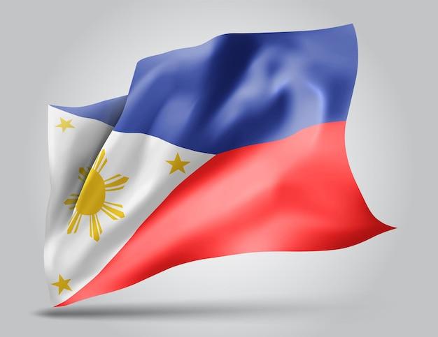 Philippines, vecteur 3d flag isolé sur fond blanc