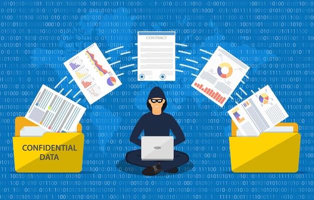 Phishing de données, attaque de pirate informatique.