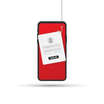 Phishing de données avec hameçon, téléphone mobile, sécurité internet. illustration vectorielle