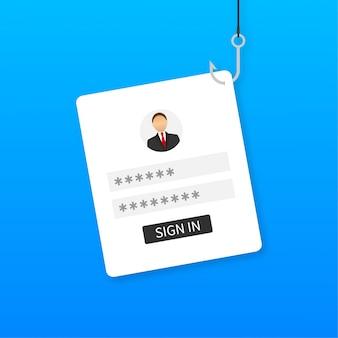 Phishing de données avec hameçon, téléphone portable, sécurité internet. illustration.