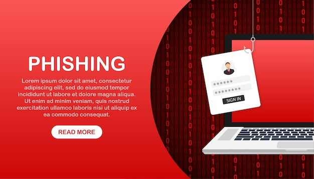 Phishing de données avec illustration d'hameçon