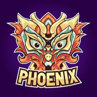 Phoenix orange oiseau esport logo