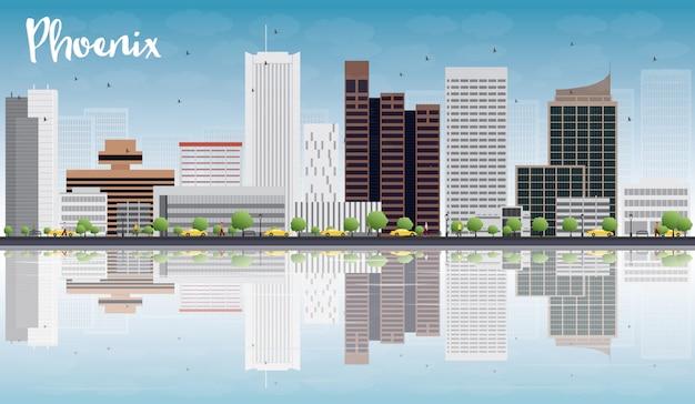 Phoenix skyline avec bâtiments gris, ciel bleu et reflets