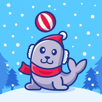 Phoques de dessin animé jouant en hiver