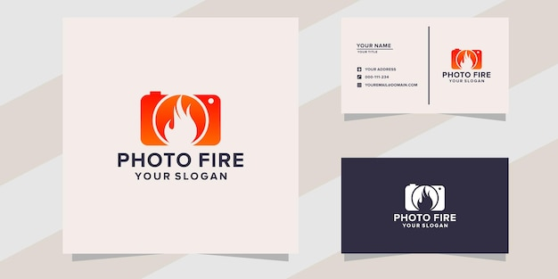 Photo d'appareil photo avec modèle de logo d'incendie