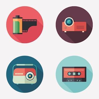 Photo et audio plat rond jeu d'icônes.
