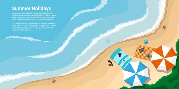 Photo d'un bord de mer avec serviettes, parapluies, ardoises, bannière de style pour vacances, voyage, concept de vacances d'été
