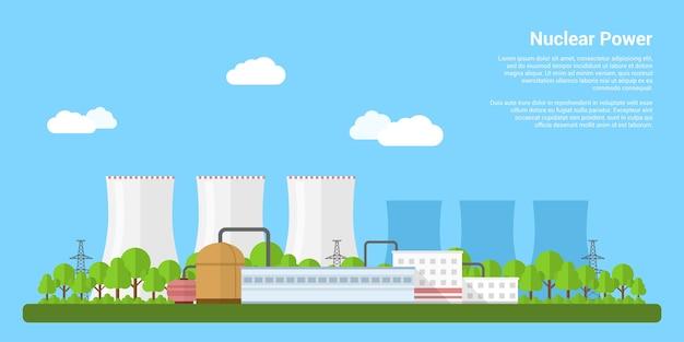 Photo de la centrale nucléaire, concept de bannière de style du concept de production d'énergie