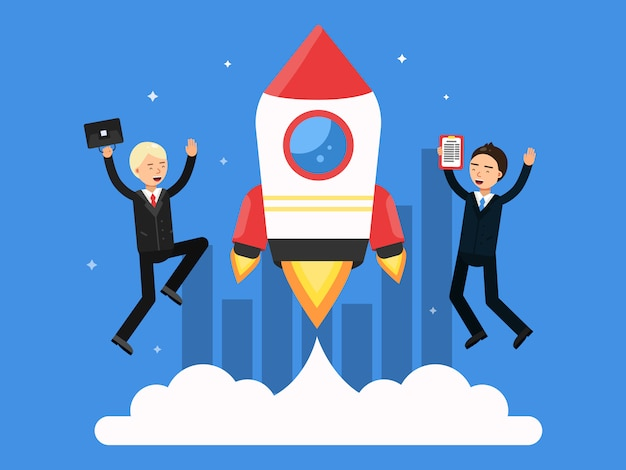 Photo de concept avec des symboles de démarrage. rocket et hommes d'affaires heureux