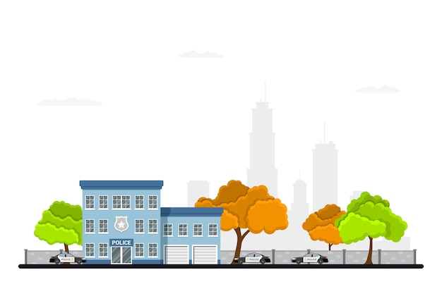 Photo du bâtiment du poste de police de la ville avec des voitures de police, des arbres et une silhouette de grande ville sur fond. paysage urbain. concept de protection de la loi. .
