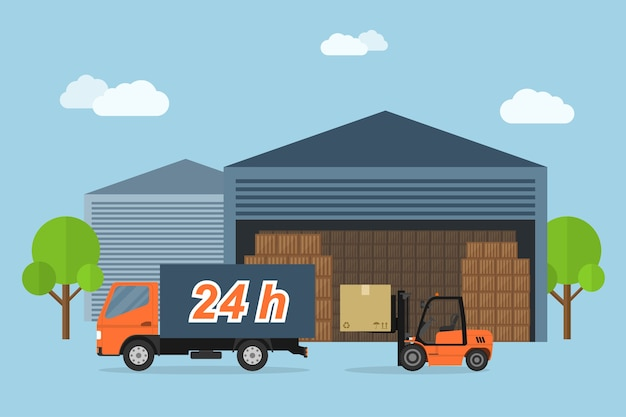 Photo du camion de livraison et de la boîte de chargement de chariot élévateur, concept de service de livraison, illustration de style