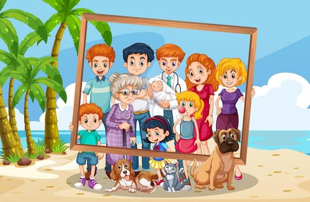 Photo de famille sur fond de vacances