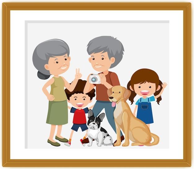 Photo de famille heureuse dans un style de carton de cadre