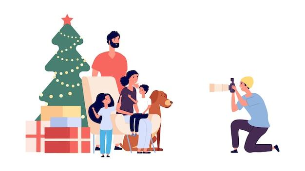 Photo de famille. heureuse famille maman papa fille fils chien et photographe. photo de noël. personnage de photographe professionnel