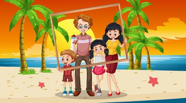 Photo de famille heureuse en vacances