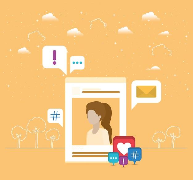 Photo de femme en compte avec tendance définie des icônes