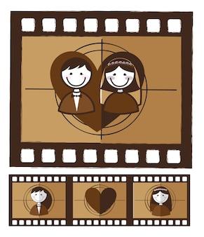 Photo grunge marié sur illustration vectorielle fond blanc