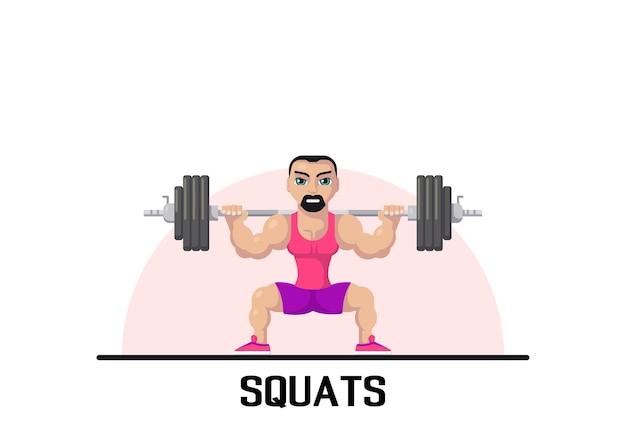 Photo d'un homme athlète fort faisant des squats avec haltères sur le cou en arrière. concept d'entraînement de gym. conception de personnage de style plat.