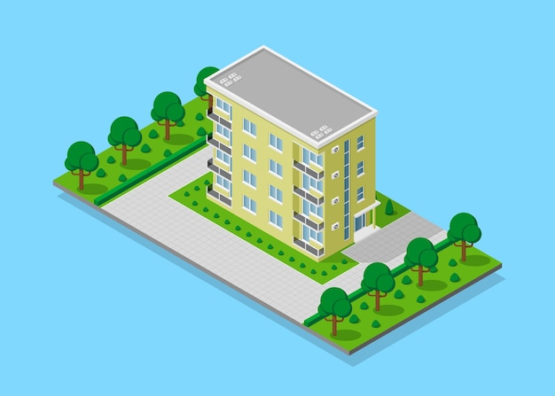 Photo de maison d'appartent avec sentiers, arbres et réverbères, bâtiment de ville low poly, icône isométrique ou élément infographique pour la création de plan de ville