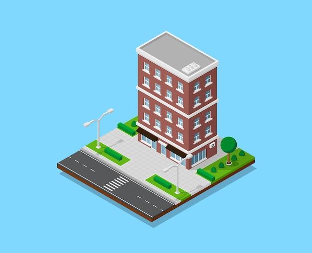 Photo de maison d'appartent avec sentiers, route, arbres et réverbères, bâtiment de ville low poly, icône isométrique ou élément infographique pour la création de plan de ville