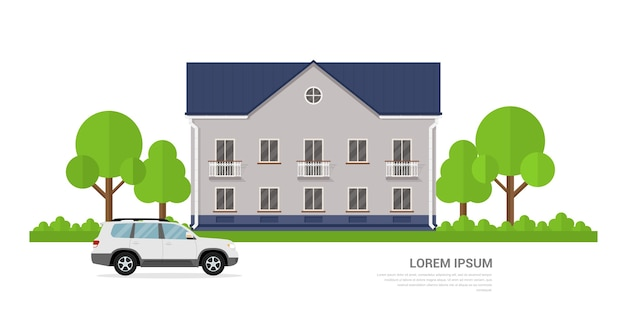 Photo d'une maison privée et d'une voiture devant elle, concept de bannière de style