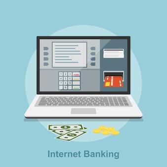 Photo de l'ordinateur portable avec interface guichet automatique sur son écran, concept de style pour les services bancaires par internet, concept de paiement en ligne
