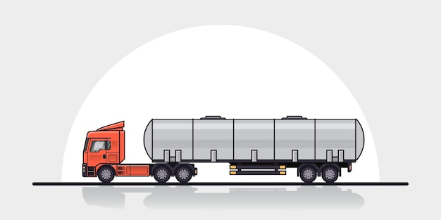 Photo de remorque de camion cargo européen moderne, vue latérale. illustration d'art de ligne de style plat. concept de transport de marchandises.