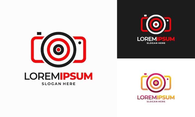 Photo shot logo conçoit le vecteur de concept, élément de conception de logo d'icône de cible de mise au point