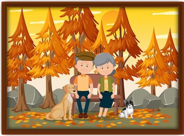 Une photo d'un vieux couple au parc en automne