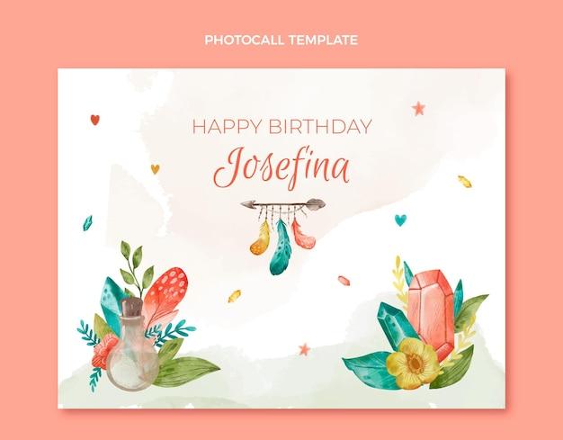 Photocall d'anniversaire boho aquarelle