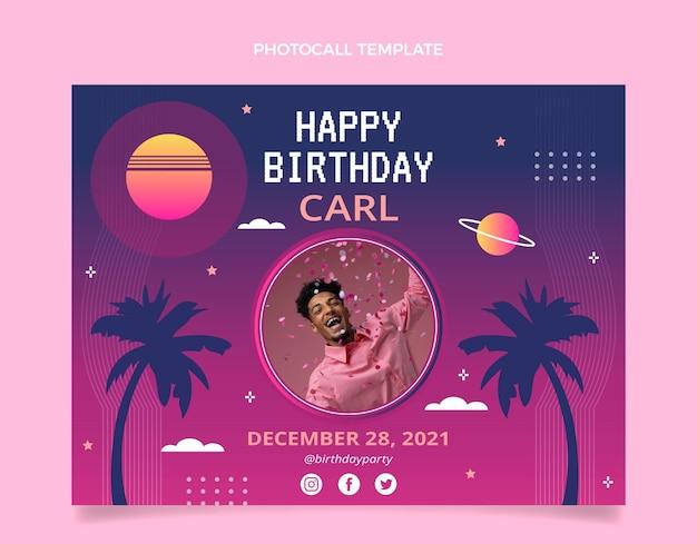 Photocall d'anniversaire dégradé rétro vaporwave