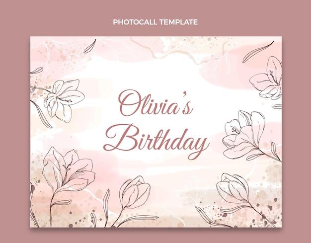 Photocall d'anniversaire dessiné à la main à l'aquarelle