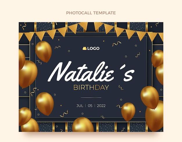 Photocall d'anniversaire doré de luxe réaliste