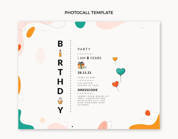 Photocall d'anniversaire minimal design plat