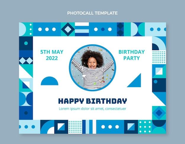 Photocall d'anniversaire en mosaïque design plat