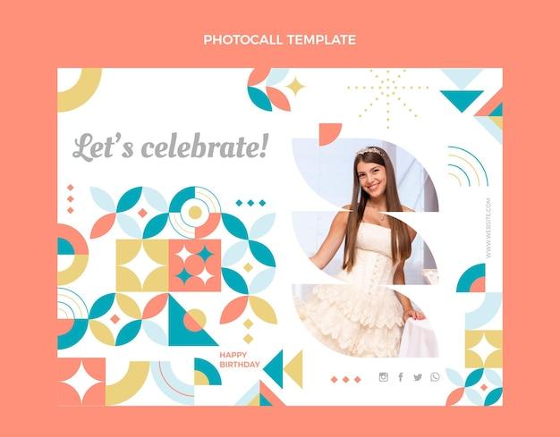 Photocall d'anniversaire en mosaïque de style plat