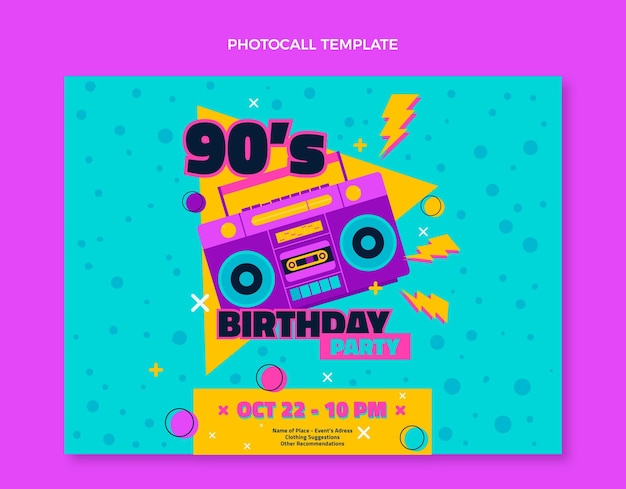 Photocall d'anniversaire nostalgique des années 90 dessiné à la main