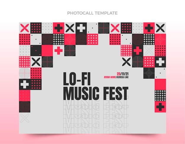 Photocall du festival de musique en mosaïque design plat