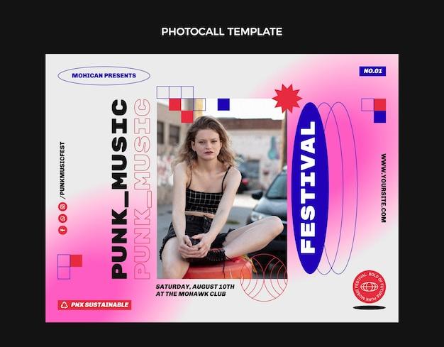 Photocall du festival de musique nostalgique des années 90 au design plat