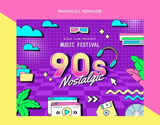 Photocall du festival de musique nostalgique des années 90 dessiné à la main