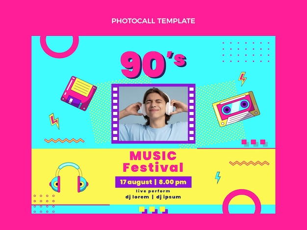 Photocall du festival de musique nostalgique au design plat