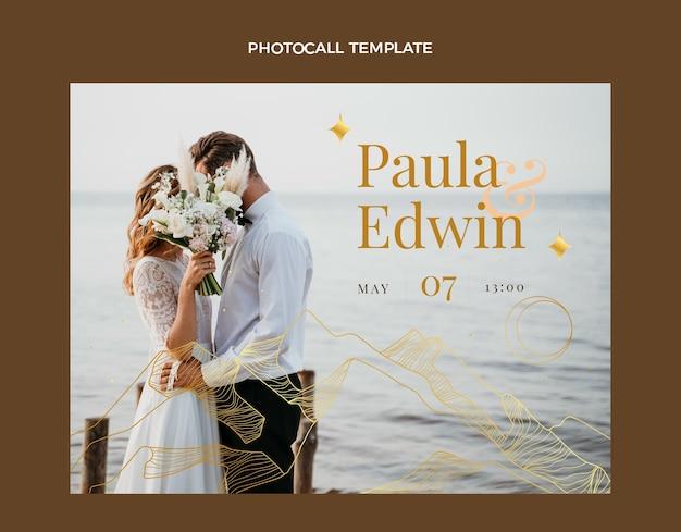 Photocall de mariage doré de luxe réaliste