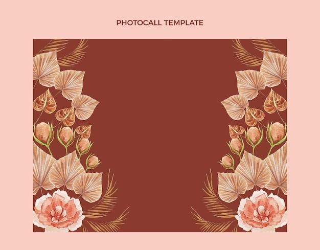 Photocall de mariage floral boho aquarelle